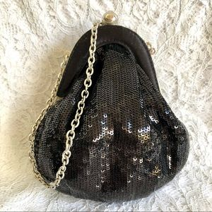 Decorada Black Sequin Dainty Bag with Chunky Silver Chain Handle Vintage Look